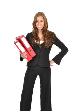 Woman in a suit wearing red folder Stock Photo