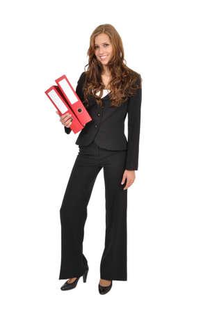 oficinista: Aprendiz lleva dos carpeta roja