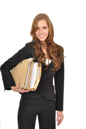 Business woman wears files