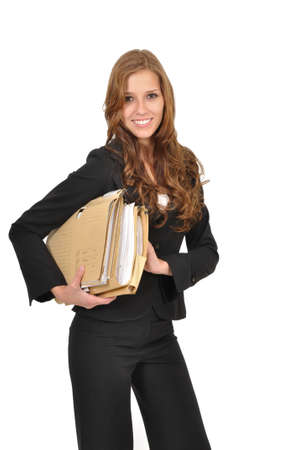 Woman in a suit wearing file Stock Photo - 9986301