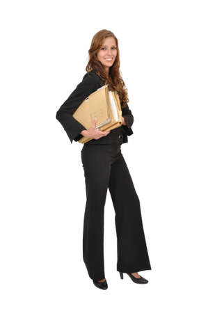Businesswoman in a suit wearing stacks of files Stock Photo - 9974821