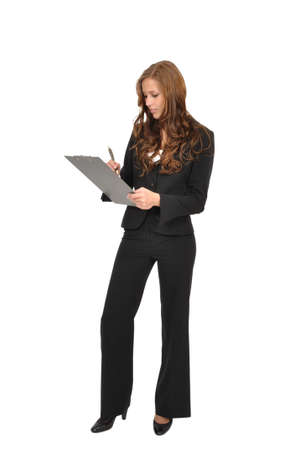 Young woman with a clipboard wrote Stock Photo - 9974827