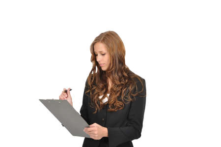 Young woman in suit with clipboard Stock Photo - 9986157