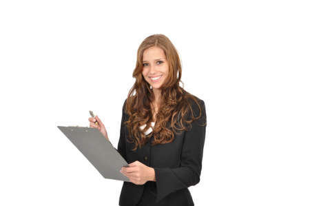Businesswoman in a suit and a clipboard Stock Photo - 9986158