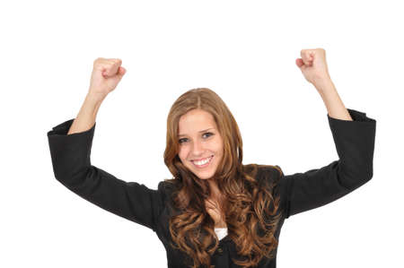 Young woman pulls up her arms Stock Photo