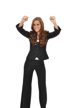 Young woman in a suit cheers photo