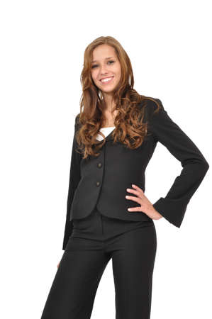 Businesswoman in a suit shows enthusiasm