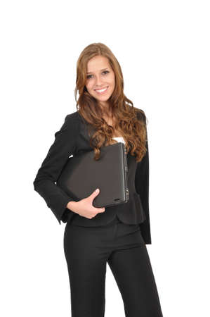 office force: Businesswoman with laptop Stock Photo