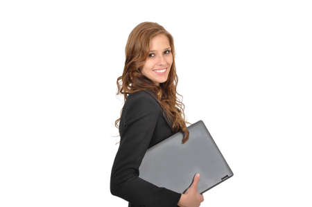 Young woman with laptop sideways
