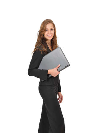 office force: Smiling woman with laptop Stock Photo
