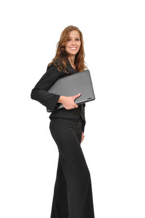 office force: Young woman holding laptop