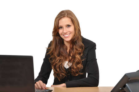office force: Business woman at desk