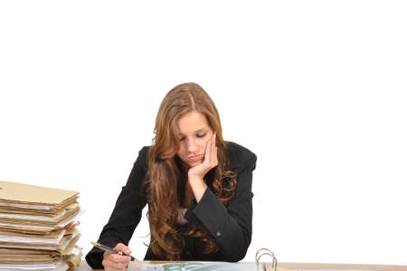Business woman at the desk about it Stock Photo - 9974854