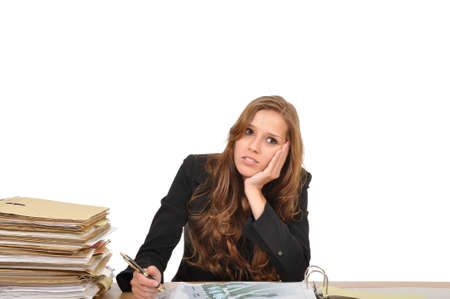 Business woman at the desk dreaming Stock Photo - 9974869