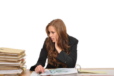 Business woman is surprised by the pile of documents Stock Photo - 9986296