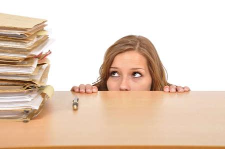 desprecio: Mujer de negocios est� lista para pasar unas vacaciones