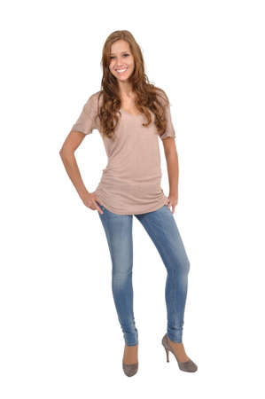 Young woman in jeans Stock Photo