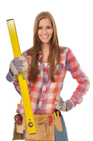 woman with yellow water balance and tool is in pose