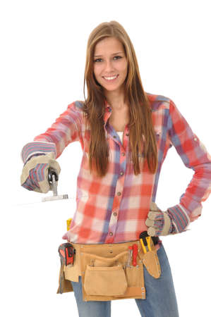 young woman with long hair is working with a trowel