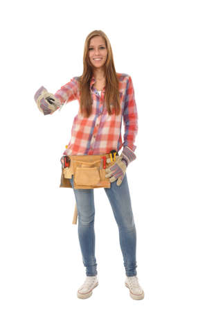 craftswoman with a checkered shirt with a spatula stands model