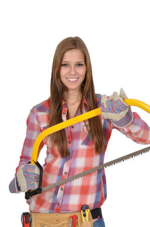 attractive young woman with long hair holding a large saw Stock Photo