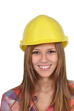 attractive young woman with a yellow helmet in close-up