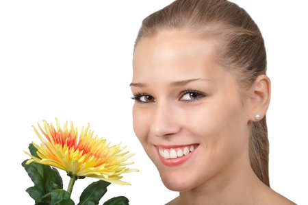 pretty young woman with yellow red flower