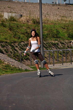 rollerskates: Outdoor sport is fun for a skater