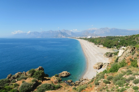 beack: The Konyaalti Beach in Antalya with the Taurus Mountains in the Background and the Beack Park