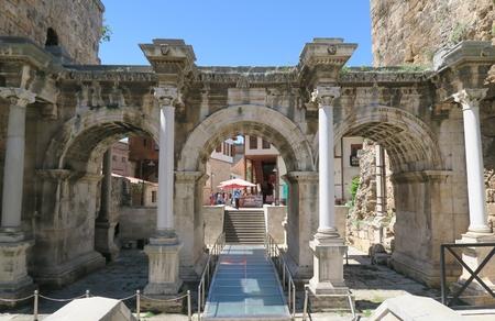 The Roman Hadrians Gate in Antalya Oldtown Kaleici, Turkey