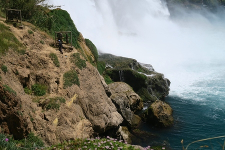 city park boat house: Duden Waterfall in Antalya, Turkey in Spring Stock Photo