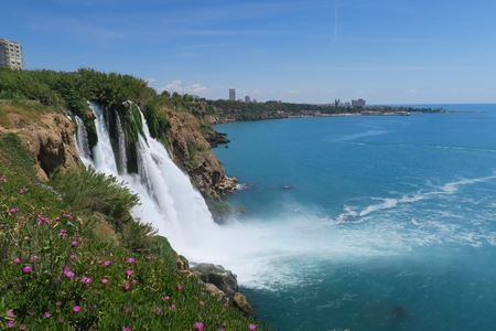 city park boat house: View from the Top of Duden Waterfall in Turkey at the Mediteranian Ocean