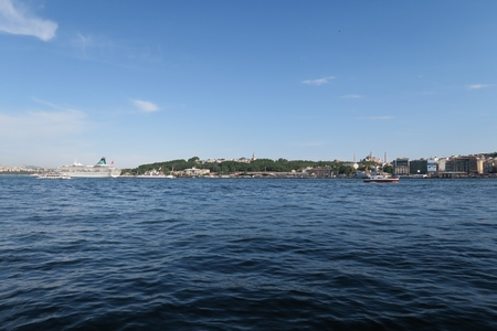 pierre: View from the Golden Horn at Istanbuls Oldtown Sultanahmet with Hagia Sophia and the Topkapi Palace, Turkey