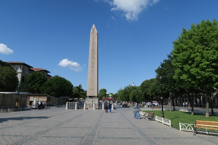 obelisk stone: Theodosian Obelisk from Egypt, at the Hippodrom of Constantinople in Istanbul, Turkey Stock Photo