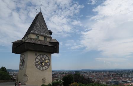 steiermark: City Clock Uhrturm Tower is the Landmark of Graz, Austria