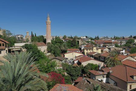 abraham: Yivli Minare Mosque is a Landmark in Antalyas Oldtown Kaleici, Turkey Stock Photo