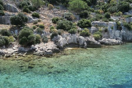 sunken: Kekova Island, Mediterranian Sea and the Ruins of the Sunken City Simena in the Antalya Province