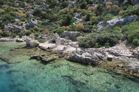 sunken: Kekova Island and the Ruins of the Sunken City Simena in the Antalya Province, Turkey