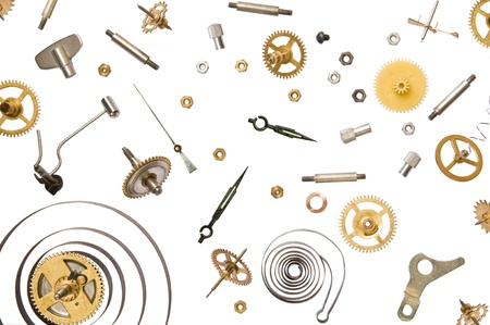 watchmaker: parts of clock mechanism on pure white background