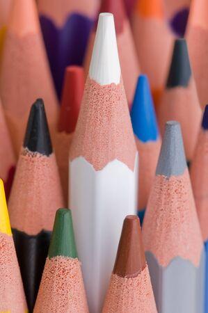 close view of colour pencils photo