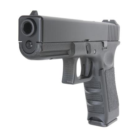 glock: close view of handgun on pure white background Stock Photo