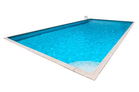 分離された青い水と長方形プール