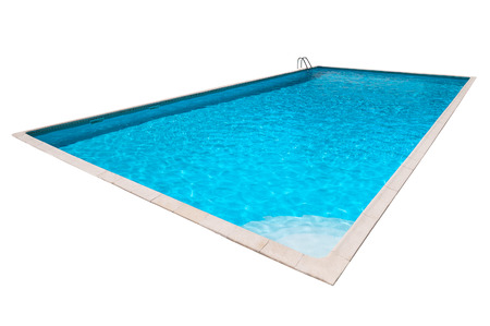 natacion: Piscina rectangular con agua azul aislado Foto de archivo
