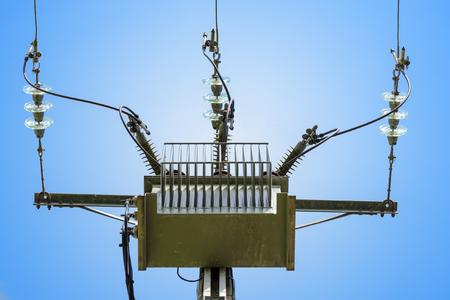 three phase: three phase current pylon on gradient blue background