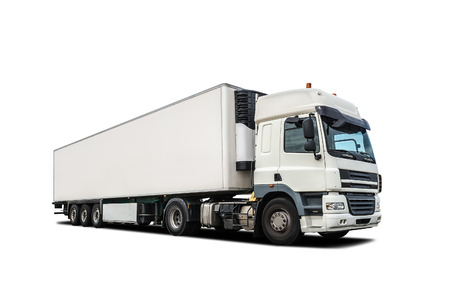 shipping supplies: white heavy truck isolated