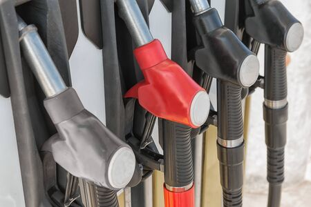 fueling pump: close view of red gas pump Stock Photo
