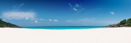 la digue: panoramic view of petite anse beach la digue island seychelles