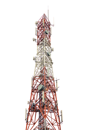 gsm: red and white gsm tower on white background