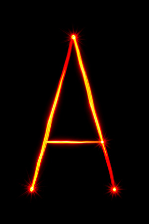 light painting: red light painting letter A on black background