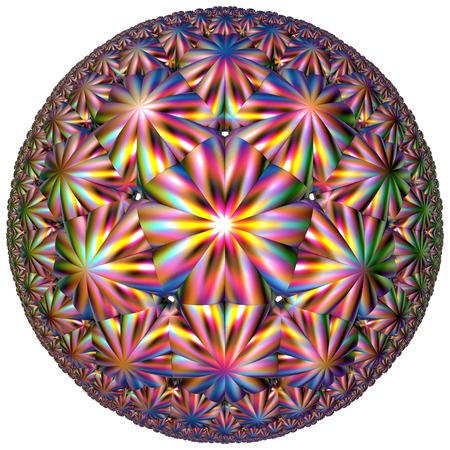 fractal circular colored hyperbolic tessellation shape